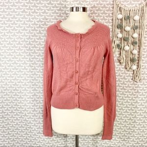 GUINEVERE Rose Pink Cotton Angora Bow Cardigan